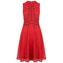 Buy Miss Selfridge Embellished High Neck Dress, Burgandy Online at johnlewis.com