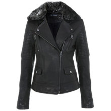 Buy Miss Selfridge Leather Biker Jacket, Black Online at johnlewis.com
