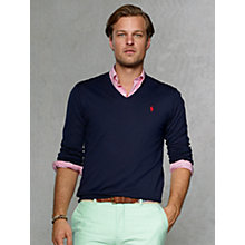 Buy Polo Ralph Lauren Pima Cotton V-Neck Jumper, Hunter Navy Online at johnlewis.com