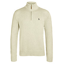 Buy Polo Ralph Lauren Zip-Up Cotton Jumper, Light Grey Heather Online at johnlewis.com