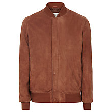 Buy Reiss Madson Suede Bomber Jacket, Rust Online at johnlewis.com