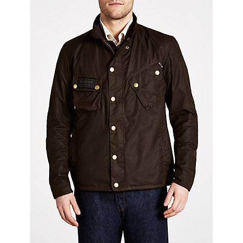 Buy Barbour International Waxed Cotton Field Jacket, Olive Online at johnlewis.com