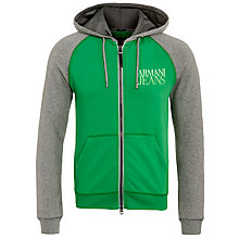 Buy Armani Jeans Contrast Full Zip Hoodie, Green Online at johnlewis.com