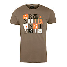 Buy Armani Jeans Picture Box Logo T-Shirt, Khaki Online at johnlewis.com