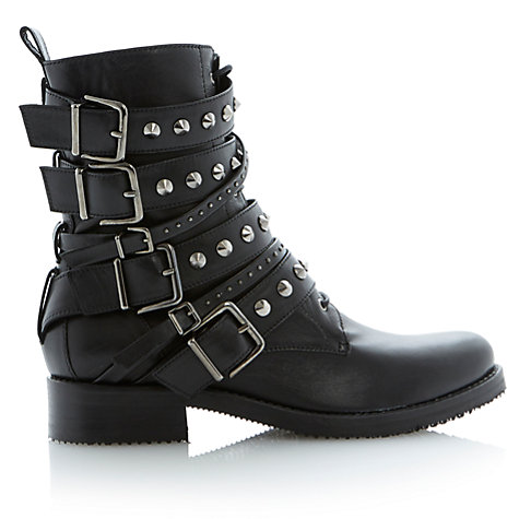 Buy Dune Black Pavlar Leather Calf Boots, Black Online at johnlewis.com