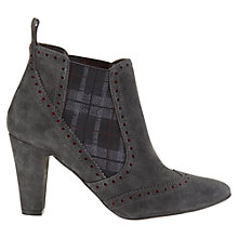 Buy Jigsaw Dover Suede Brogued Tartan Inset Ankle Boots, Grey Online at johnlewis.com
