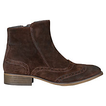 Buy Jigsaw Putney Waxed Suede Brogued Ankle Boots, Brown Online at johnlewis.com