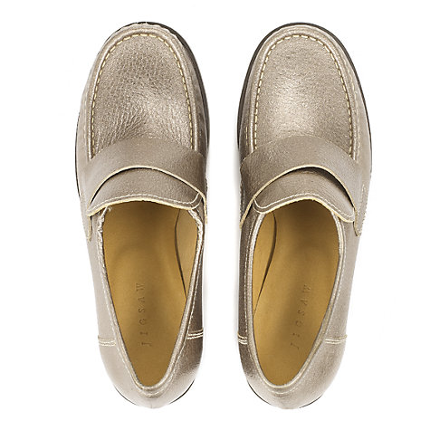Buy Jigsaw Metallic Leather Heeled Loafers, Grey Online at johnlewis.com