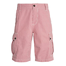 Buy John Lewis Fine Stripe Cotton Shorts, Red Online at johnlewis.com