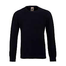 Buy JOHN LEWIS & Co. Moss Stitch Cotton Crew Neck Jumper, Navy Online at johnlewis.com