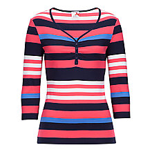 Buy Betty Barclay Stripe V-neck Button T-Shirt, Pink/Navy Online at johnlewis.com