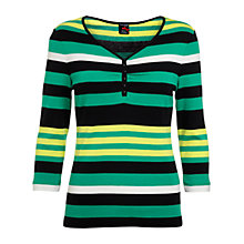Buy Betty Barclay Stripe V-neck Button T-Shirt, Black/Reed Online at johnlewis.com