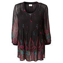 Buy East Peacock Pintuck Blouse, Black Online at johnlewis.com