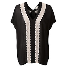 Buy East Floral Lace Blouse, Black Online at johnlewis.com