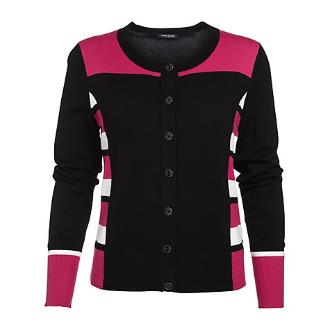 Buy Betty Barclay Short Stripe Cardigan, Black/Pink Online at johnlewis.com