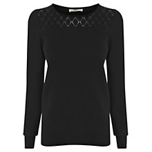Buy Oasis Pointelle Jumper, Black Online at johnlewis.com