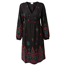 Buy East Peacock Print Dress, Black Online at johnlewis.com
