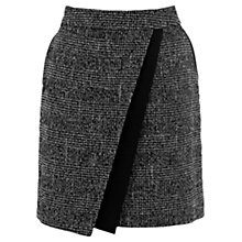 Buy Warehouse Asymmetric Detail Checked Skirt, Dark Grey Online at johnlewis.com