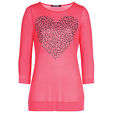 Buy Betty Barclay Heart Stud Long Knitted Top, Raspberry Online at johnlewis.com