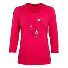 Buy Betty Barclay Diamante Hearts Tee, Raspberry Online at johnlewis.com