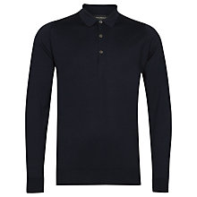Buy John Smedley Cotswold Merino Wool Long Sleeve Polo Shirt, Midnight Online at johnlewis.com
