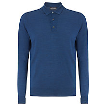 Buy John Smedley Cotswold Merino Wool Long Sleeve Polo Shirt, Indigo Online at johnlewis.com