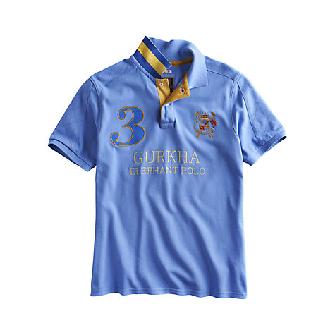 Buy Joules Gurkha Elephant Polo Shirt, Blue Online at johnlewis.com