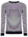 John Smedley Longnor Striped Merino Wool Jumper, Navy/Multi