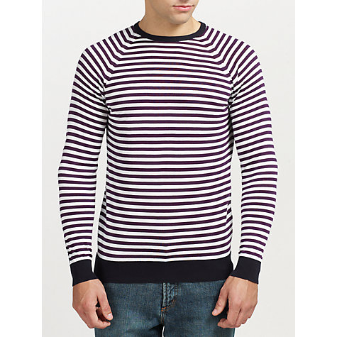 Buy John Smedley Longnor Striped Merino Wool Jumper, Navy/Multi Online at johnlewis.com