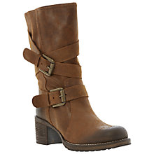 Buy Bertie Raindrop Burnished Buckled Biker Boots, Brown Online at johnlewis.com