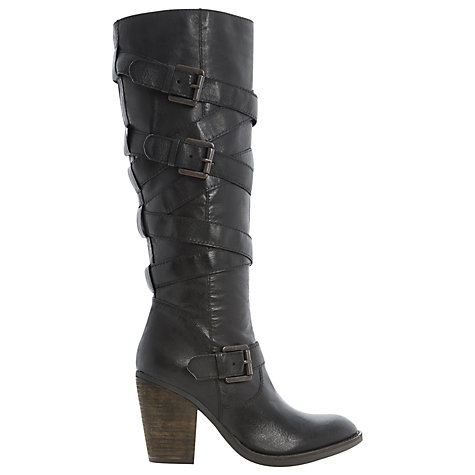 Buy Steve Madden Renegaid Multi Strap Leather Knee High Boots, Black Online at johnlewis.com