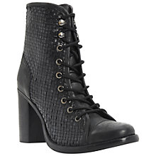 Buy Bertie Peto Woven Leather Block Heel Ankle Boots, Black Online at johnlewis.com