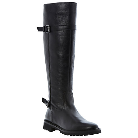 Buy Bertie Thunder Leather Buckled Knee Boots, Black Online at johnlewis.com