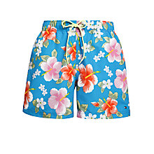 Buy Tommy Hilfiger Zac Hawaiian Print Swim Shorts, Blue/Multi Online at johnlewis.com