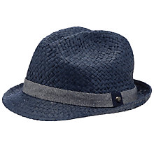 Buy Ted Baker Turnbat Straw Trilby Hat, Navy Online at johnlewis.com