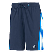 Buy Adidas 3-Stripes Colour Bloc Swim Shorts, Navy Online at johnlewis.com