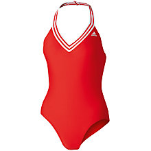 Buy Adidas One Piece V-Neck Swimsuit, Red Online at johnlewis.com