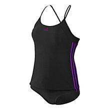 Buy Adidas Tankini Three Stripes Swimsuit, Black/Purple Online at johnlewis.com