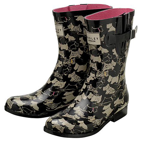 Buy Radley Doodle Dog Short Wellie Boots, Black/Neutral Online at johnlewis.com