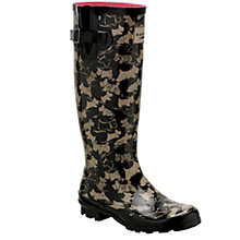 Buy Radley Doodle Dog Long Wellie Boots, Black/Neutral Online at johnlewis.com