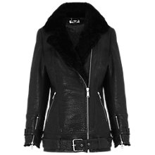 Buy Whistles Lennox Longline Leather Jacket, Black Online at johnlewis.com