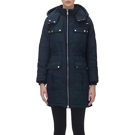 Buy Whistles Diamond Quilted Parka, Navy Online at johnlewis.com