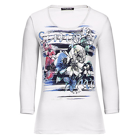 Buy Betty Barclay Flower Diamante T-shirt, Cream/Dark Blue Online at johnlewis.com