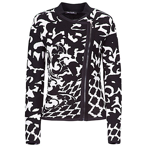 Buy Betty Barclay Knitted Jacquard Biker Jacket, Black/Nature Online at johnlewis.com
