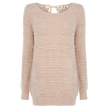Buy Oasis Fluffy Bow Jumper, Pale Pink Online at johnlewis.com
