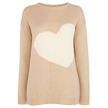 Buy Oasis Heart Jumper, Light Neutral Online at johnlewis.com