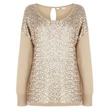 Buy Oasis Sequin Front Blouse, Light Neutral Online at johnlewis.com