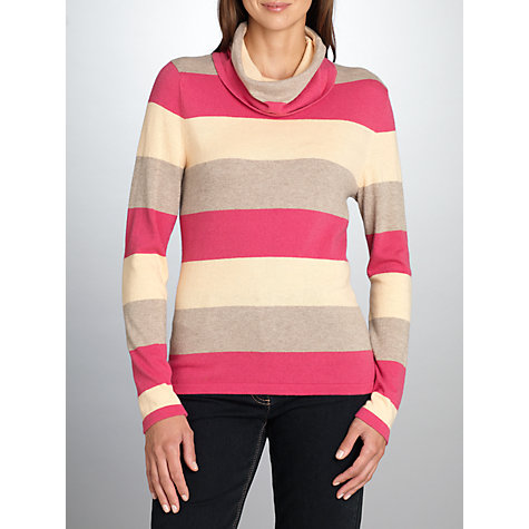 Buy Betty Barclay Stripe Cowl Neck Jumper, Pink/Beige Online at johnlewis.com