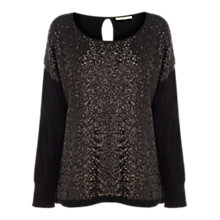 Buy Oasis Sequin Top, Black Online at johnlewis.com