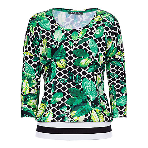 Buy Betty Barclay Leaf Print Stretch Top, Nature/Reed Online at johnlewis.com